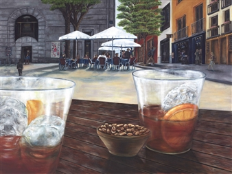 JANINA Leigue - El Aperitivo Oil on Canvas, Paintings