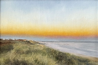 John Britton - Ditch Plains Sunset Oil on Board, Paintings