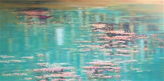 Madhuri Bhaduri - Reflections 5 Oil on Canvas, Paintings