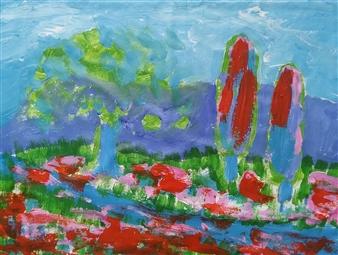 Yu He - Raining Acrylic on Canvas, Paintings