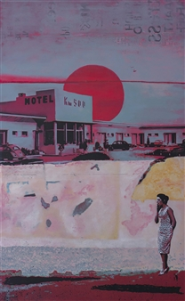 db Waterman - Motel 500 Acrylic on Canvas, Paintings