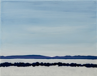 Gabriella Mirabelli - Croton Landing Ice on the Hudson Acrylic on Canvas, Paintings