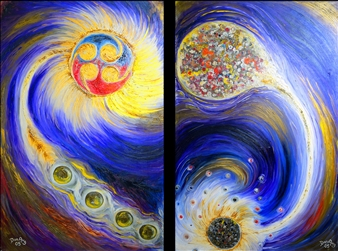 Dan Aug - Fusion and Fission Oil on Canvas, diptych, Paintings