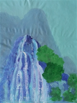Yu He - Waterfall No.6 Acrylic on Canvas, Paintings