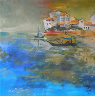 Rita Galambos - Port-Town Before the Storm Acrylic on Canvas, Paintings