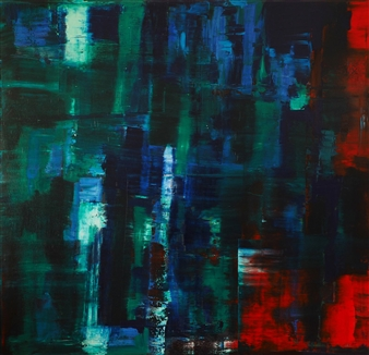 Catherine Timotei - Reflection: Green, Blue on Red Oil on Canvas, Paintings