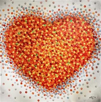 Sarah Shinhyo Kim - Heart of Love Acrylic & Ink on Canvas, Paintings
