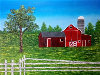 Hezekiah Baker Jr. - Country Barn Acrylic & Oil on Canvas, Paintings