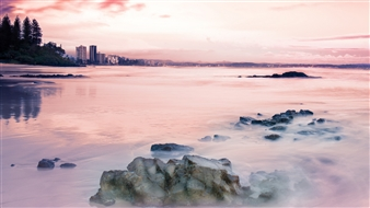 Mireille Pizzo - Soft Pink Sunrise Photograph on Metallic Paper, Photography