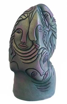 Nora Pineda - Green Fantasy Stoneware, Sculpture