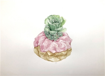 Charmaine Nadine Osaerang - Pink Swirl Succulent Donut Watercolor on Paper, Paintings
