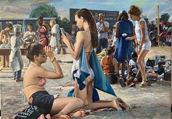Alexandr Mischan - Birthday on the Beach Tempera and Oil on Canvas, Paintings