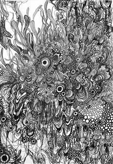 Kaoru Kushima - Floating Ⅱ Pen on Paper, Drawings
