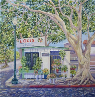 Miguel A. Chavez - Flower Shop Oil on Canvas, Paintings