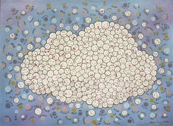 Sarah Shinhyo Kim - WeCloud Acrylic & Pastel on Canvas, Paintings