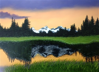 Hezekiah Baker Jr. - River Reflections Acrylic & Oil on Canvas, Paintings