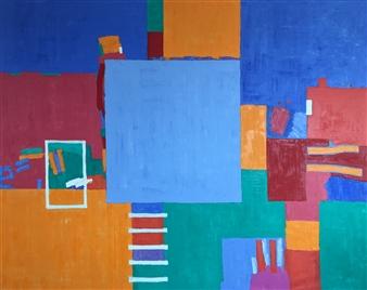 Mario España - Composition II Oil on Canvas, Paintings