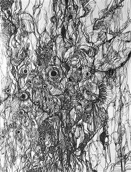 Kaoru Kushima - Floating Ⅲ Pen on Paper, Drawings
