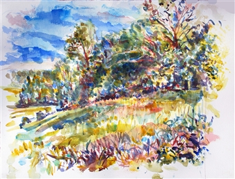 James Chisholm - Garden Street, Topsfield Watercolor on Paper, Paintings