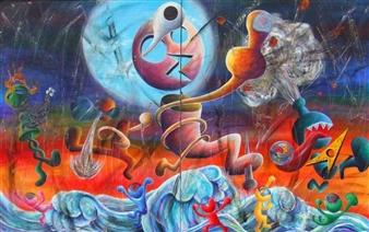 Kenji Inoue - Rock'n'Roll Monsters Acrylic on Canvas, Paintings