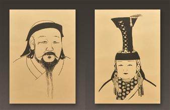 Susan Kadish - Kublai Kahn and Chabi Khatun Framed Silk Screens, Paintings