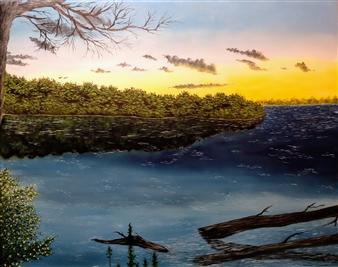 Hezekiah Baker Jr. - A Riverbank Acrylic & Oil on Canvas, Paintings