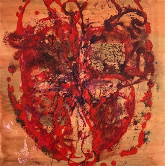 Mehdi Oveisi - Heart V Mixed Media on Canvas, Mixed Media