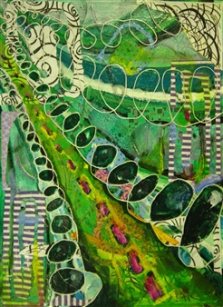 Helen E. Becker - On the Straight and Narrow Acrylic & Collage on Paper, Mixed Media
