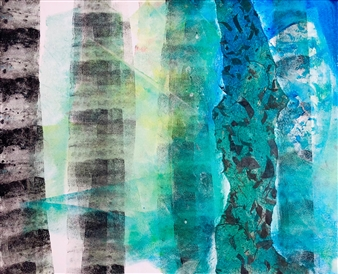 Wendy Yeager - Bamboo Forest Mixed Media on Canvas, Mixed Media