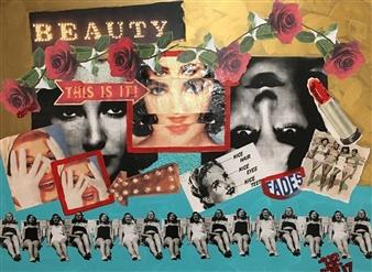 Nancy Landauer - Beauty Fades Mixed Media Collage on Canvas, Mixed Media