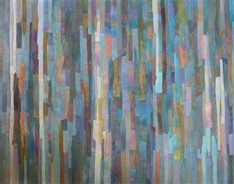 Ellen Globokar - Slow Blues Collage on Canvas, Mixed Media
