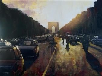 Emanuele Biagioni - l Ora di Punta Acrylic on Fabric, Paintings