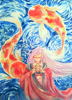 Xiao daCunha - Song of Koi Watercolor on Paper, Paintings