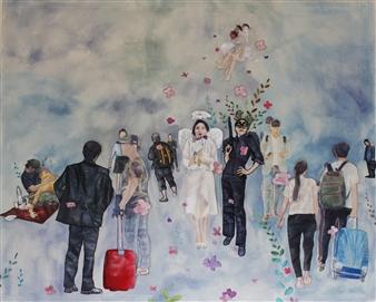 Eunmi Park - Two Angels Series Mixed Media Textile, Mixed Media