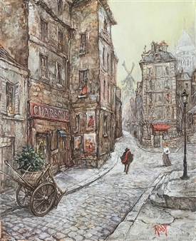 Rody - Old Street in Montmartre Oil on Canvas, Paintings