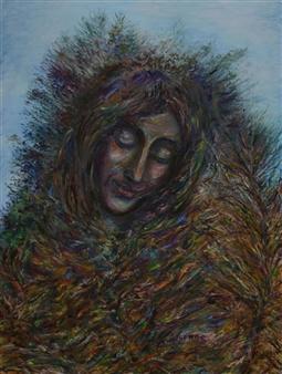 Oleg Kirnos - Autumn Face Oil on Canvas Board, Paintings