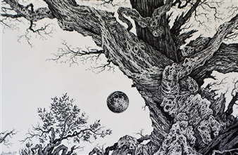 Michael Livolsi - Oak and Moon Pen on Paper, Drawings
