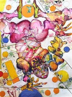 Michael Dolen - Acrobat Mixed Media on Paper, Mixed Media