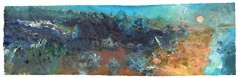Frances Hatch - Blueberry Moon Acrylic & Mixed Media on Canvas, Mixed Media