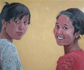 Takumi Kata (TAKU) - Girls Talk Acrylic on Canvas, Paintings