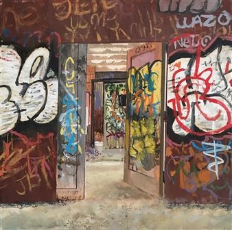 "Daniel Loveridge - ""Introverted"" - Abandoned Psychiatric Ward Acrylic on Wood Panel, Paintings"