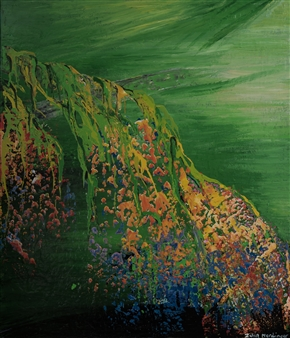 Zvia Merdinger - Hanging Gardens Mixed Media on Canvas, Mixed Media