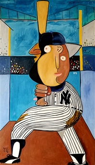 Leandro Miguel Cruz - Yankee at the Plate Oil on Canvas, Paintings