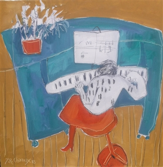 J. Roger Charoux - La Pianiste Acrylic on Canvas, Paintings