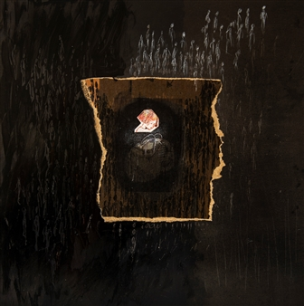Sigrid Thaler - Childhood Mixed Media and Collage on treated Black Iron, Mixed Media