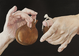 Cuquis Quiroz - Manos Maestras (My Mother's Hands) Oil on Stretched Canvas Board, Paintings