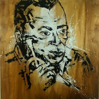 RenéeRose - Cool Jazz - Miles Davis Mixed Media on Wood, Mixed Media