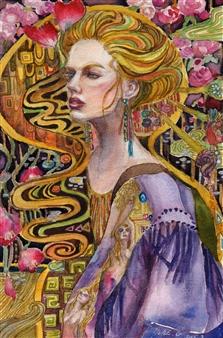 Yuki Goodman - Waterfall of Flowers Watercolor & Ink on Paper, Paintings