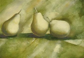 Pauli Zmolek - Three Pears in Pastel Watercolor & Pastel on Paper, Paintings