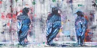 Pamela Sullivan - Three Crows Oil on Canvas, Paintings